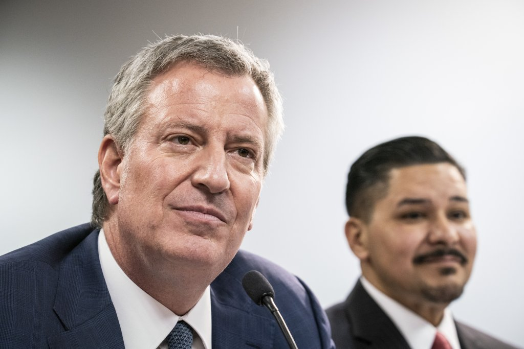 Bill de Blasio, mayor of New York, left, and Richard Carranza, chancellor of the New York City Department of Education