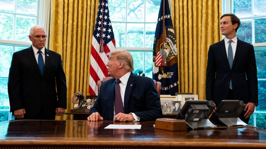 Flanked by Vice President Mike Pence (L) and advisor Jared Kushner (R), U.S. President Donald Trump speaks in the Oval Office to announce that Bahrain will establish diplomatic relations with Israel, at the White House in Washington, DC on September 11, 2020.