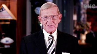 CHARLOTTE, NC - AUGUST 26: (EDITORIAL USE ONLY) In this screenshot from the RNC's livestream of the 2020 Republican National Convention, Former South Carolina Gamecocks football coach Lou Holtz addresses the virtual convention on August 26, 2020. The convention is being held virtually due to the coronavirus pandemic but will include speeches from various locations including Charlotte, North Carolina and Washington, DC.