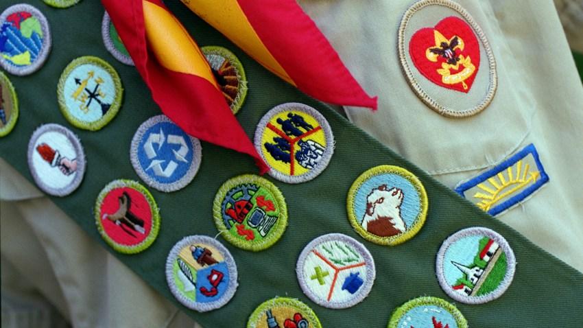 a Boy Scout's merit badge sash