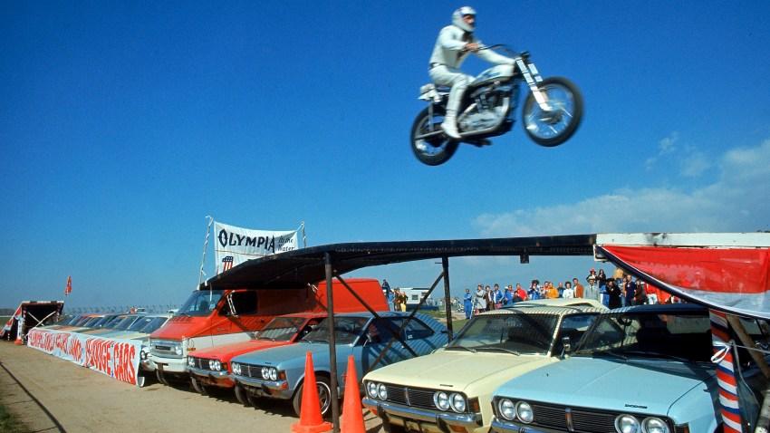 American daredevil motorcyclist Evel Knievel