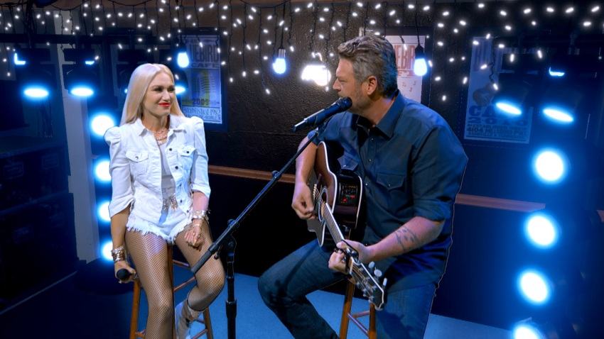 In this screengrab, (L-R) Gwen Stefani and Blake Shelton perform during the 55th Academy of Country Music Awards on August 31, 2020, in Los Angeles, California. The ACM Awards aired on September 16, 2020, with some live and some prerecorded segments.