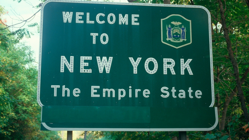 File photo of a welcome to New York sign.