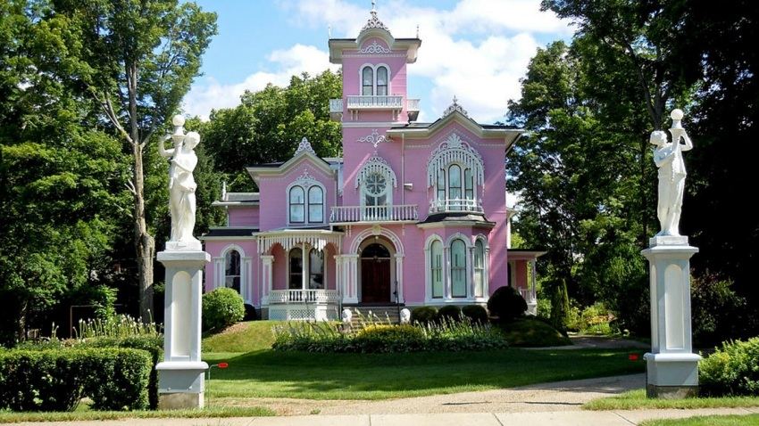 The Victorian Mansion known as The Pink House in Allegany New York