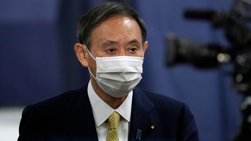 Japanese Chief Cabinet Secretary Yoshihide Suga casts his ballot for the Liberal Democratic Party's (LDP) leadership election on September 14, 2020, in Tokyo, Japan.