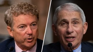 Senator Rand Paul (left) and Anthony Fauci (right), director of the National Institute of Allergy and Infectious Diseases.