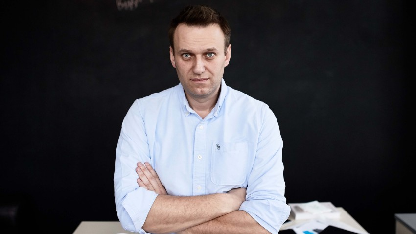 In this April 11, 2017, file photo, Russian politician Alexey Navalny in his office in Moscow, Russia.