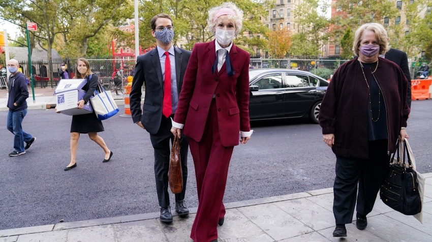 E. Jean Carroll arrives at the Daniel Patrick Moynihan United States Courthouse, Wednesday, Oct. 21, 2020, in New York. Carroll, who says President Donald Trump raped her in the 1990s, was expected to be in court Wednesday to hear lawyers argue whether Trump can substitute the United States for himself as the defendant in her defamation lawsuit.