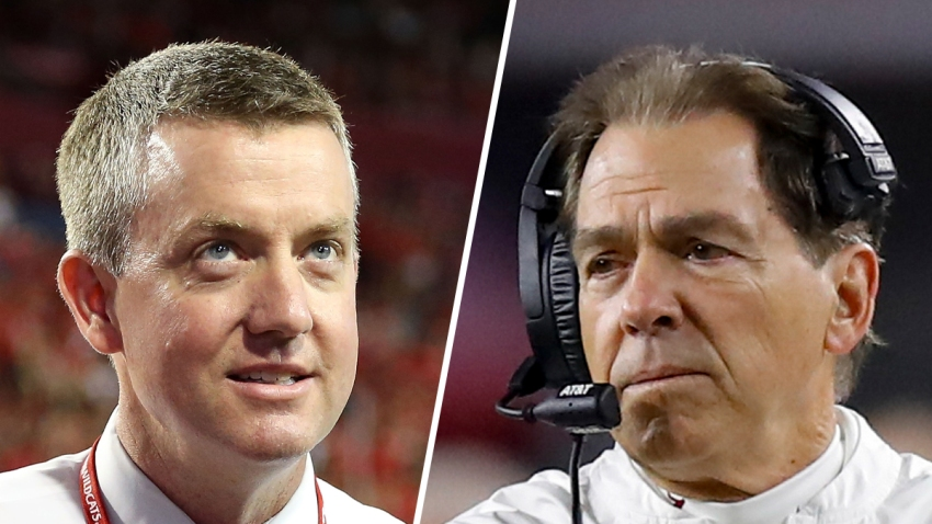 Alabama athletic director Greg Byrne (left) and head coach Nick Saban of the Alabama Crimson Tide (right).