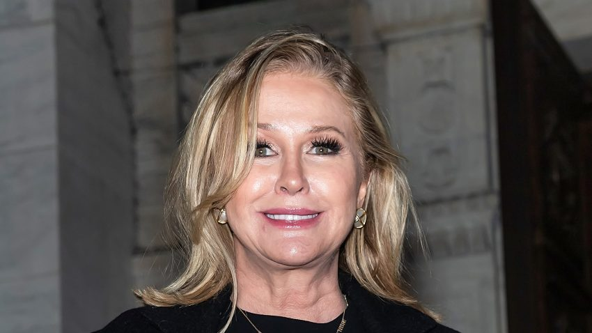 Kathy Hilton is seen leaving the Oscar De La Renta Fashion Show during New York Fashion Week at The New York Public Library on February 10, 2020 in New York City.
