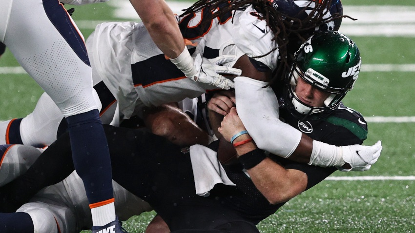 Sam Darnold sacked by Broncos