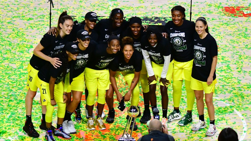The Seattle Storm poses for a picture after winning the WNBA Championship after defeating the Las Vegas Aces 92-59 during Game 3 of the WNBA Finals at Feld Entertainment Center on October 06, 2020 in Palmetto, Florida.