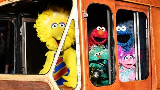 Sesame Street Characters (L-R) Big Bird, Elmo, Cookie Monster, and Abby Cadabby