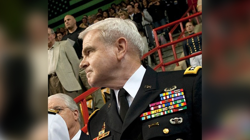 Retired Gen. J.H. Binford Peay III (right) attends an event at U.S. Central Command in this undated photo.