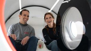 Virgin Hyperloop's Chief Technology Officer Josh Giegel and Sara Luchian, who is director of passenger experience.