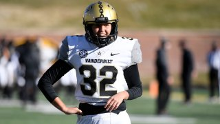 Vanderbilt place kicker Sarah Fuller warms up before the start of an NCAA college football game