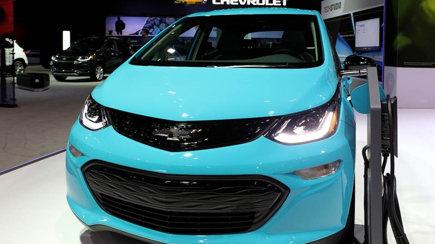 2020 Chevrolet All-Electric Bolt EV is on display at the 112th Annual Chicago Auto Show at McCormick Place in Chicago, Feb. 6, 2020.