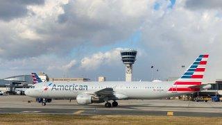 American Airlines Airbus A320-211 on the tarmac at Philadelphia International Airport (PHL) in Philadelphia, Pennsylvania.