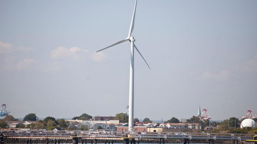 Wind turbine off coast