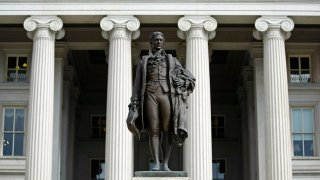 A statue of the first United States Secretary of the Treasury Alexander Hamilton