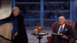 """Jim Carrey reprised his role as Joe Biden alongside Kate McKinnon as Hillary Clinton on this Halloween edition of """"Saturday Night Live"""", October 31, 2020."""