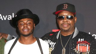 """Bobby Brown Jr. (left), and Bobby Brown (right) arrive at the premiere screening of """"The Bobby Brown Story"""" presented by BET and Totota at Paramount Theater on the Paramount Studios lot on August 29, 2018 in Hollywood, California."""