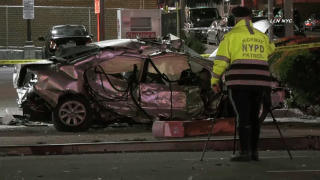 Highway patrol units investigate a deadly high-speed crash in Queens