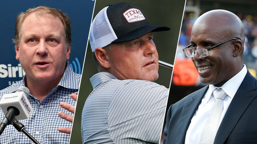 From left: Former pitcher Curt Shilling, former pitcher Roger Clemens and former left fielder Barry Bonds.