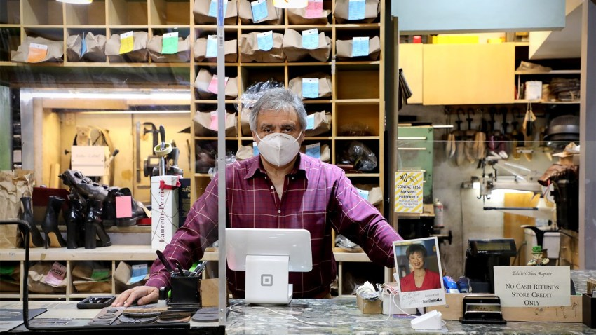 Hugo Ardaix, 65, has owned Eddie's Shoe Repair, a staple of Rockefeller Center, for more than 20 years. He has seen a 95 percent decline in revenue since the pandemic hit