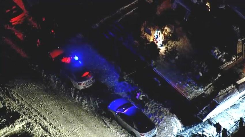 Police car at scene of stabbing