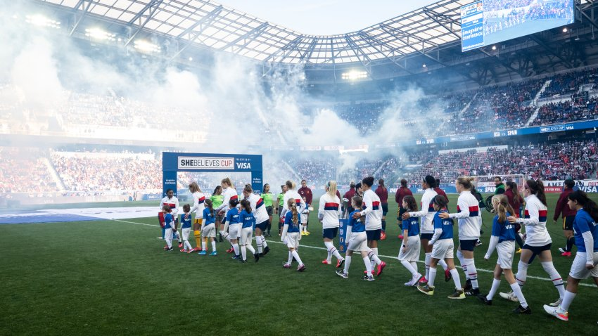 Players from the United States and Spain walk out with children for the start of the 2020 SheBelieves Cup match between United States and Spain sponsored by Visa. The match took place at Red Bull Arena on March 08, 2020 in Harrison, NJ, USA.