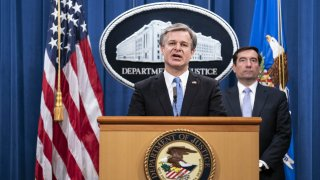 Christopher Wray, director of the Federal Bureau of Investigation (FBI), speaks during a news conference at the Department of Justice in Washington, D.C., U.S., on Wednesday, Oct. 28, 2020.
