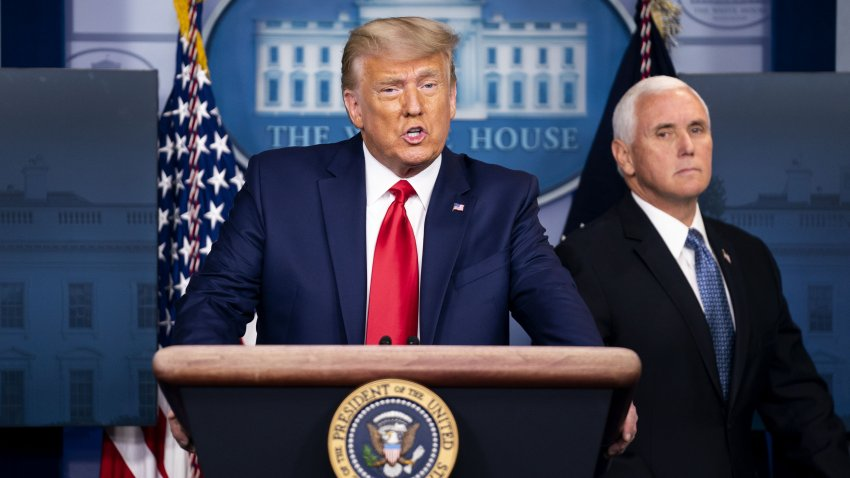 U.S. President Donald Trump speaks during a news conference with Vice President Mike Pence, right, in the James S. Brady Press Briefing Room at the White House in Washington, D.C., U.S., on Tuesday, Nov. 24, 2020. Pennsylvania and Nevada certified DemocratJoe Bidens election victory in their states, dealing the latest blows to President Trump's efforts to overturn the election results.