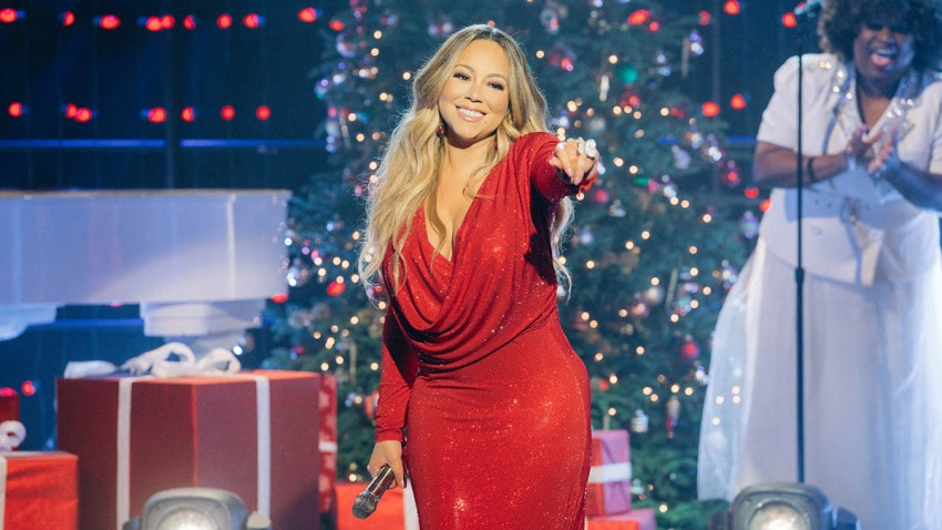 """Mariah Carey performs """"Oh Santa"""" during The Late Late Show With James Corden, Dec. 17, 2019."""