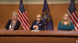 "Cecily Strong appears as Melissa Carone alongside Kate McKinnon as Rudy Giuliani on ""Saturday Night Live,"" December 5th, 2020."