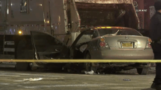 Police investigate the fatal crash between a passenger vehicle and city garbage truck