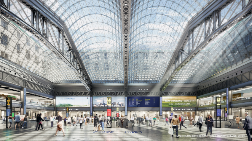 Rendering of the new Moynihan Train Hall, provided by New York state