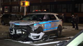 police hurt in a vehicle crash were taken to a nearby Queens hospital
