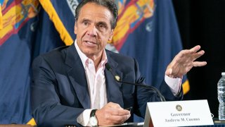 Governor Andrew Cuomo makes an announcement and holds media briefing on COVID-19 response at New Settlement Community Center, Bronx.