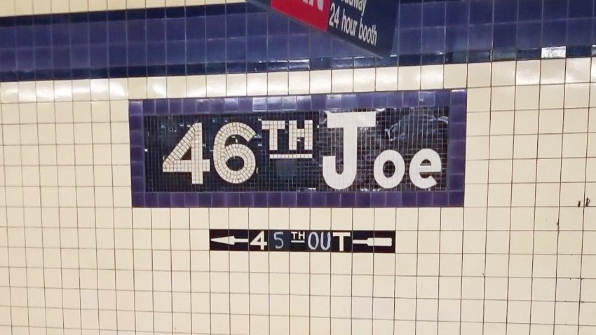 Altered subway sign