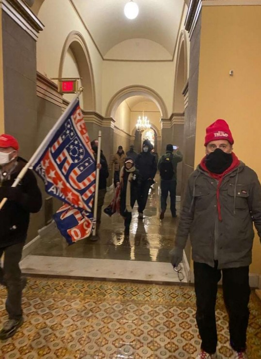Photo Chris Kelly allegedly sent of inside the U.S. Capitol during the deadly siege on Jan. 6.