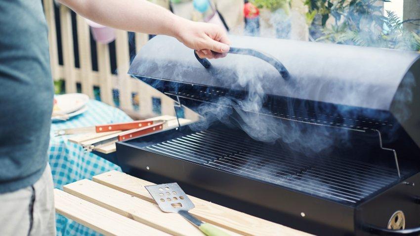 Man at grill
