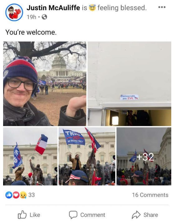Screenshot of Justin McAuliffe's alleged Facebook post