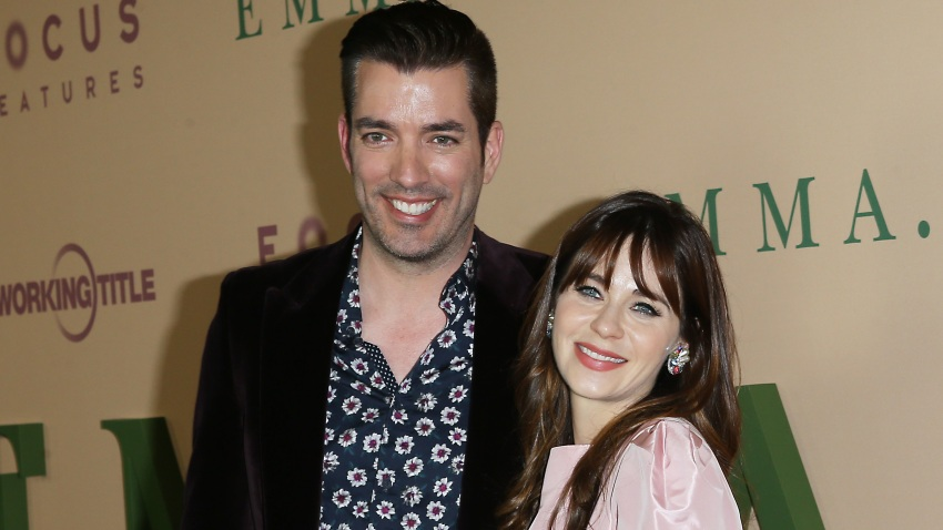 """In this Feb. 18, 2020, file photo, Zooey Deschanel and Jonathan Scott attend the Los Angeles premiere of Focus Features' """"Emma"""" held at DGA Theater in Los Angeles, California."""