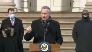 Mayor Bill de Blasio held a joint news conference with at least half a dozen House representatives to call for the impeachment of President Trump