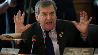 In this March 22, 2012 file photo, New Jersey Sen. Gerald Cardinale, R-Cresskill complains of the negative tone