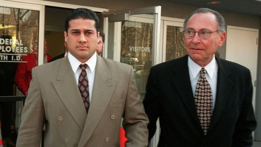 Justin Volpe, left, and his attorney Marvyn Kornberg, leave U. S. District Court in the New York City borough of Brooklyn, Thursday, Feb. 26, 1998