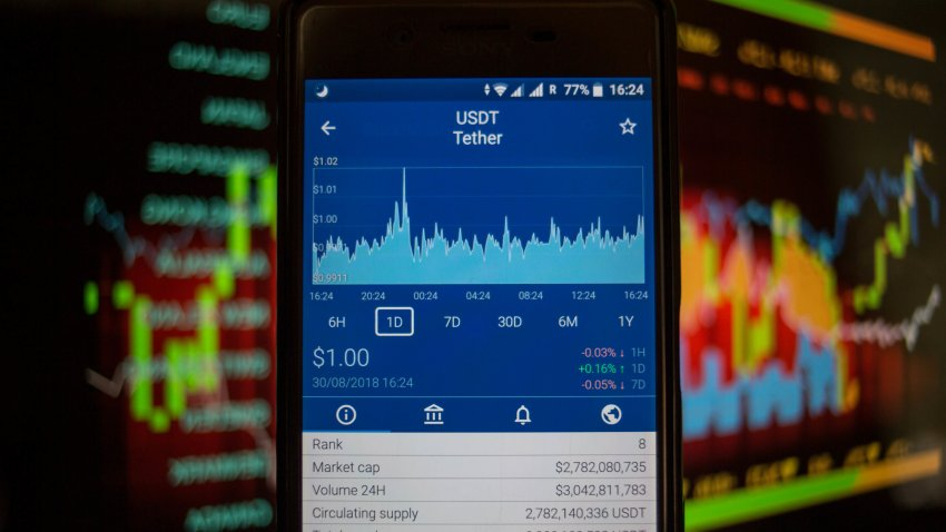 A smartphone displays the Tether market value on the stock