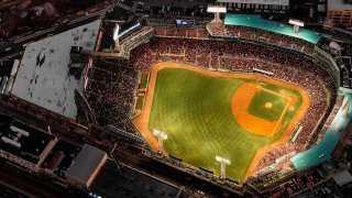 BOSTON, MA - SEPTEMBER 5: An aerial view of Fenway Park during a game between the Boston Red Sox and the Minnesota Twins on September 5, 2019 at Fenway Park in Boston, Massachusetts.