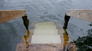 Flooded house steps